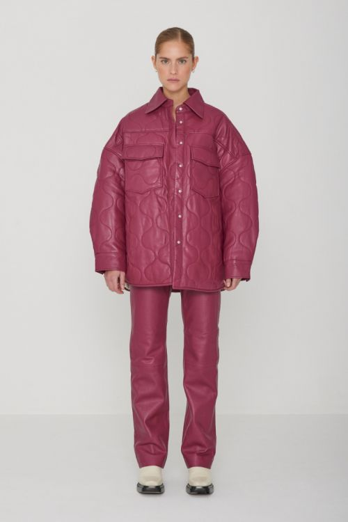 Arty Quilt Jacket Leather Raspberry